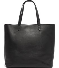 madewell zip top transport leather tote - black
