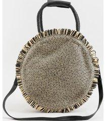 river frayed edge straw circular tote - black