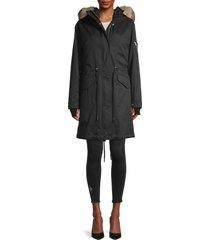 soia & kyo women's ellouise faux fur-trim 2-in-1 jacket - army - size xs