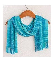 rayon chenille scarf, 'forever blue' (guatemala)