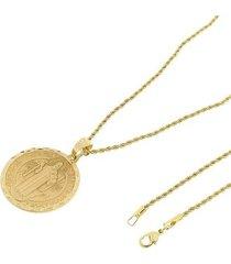 kit medalha são bento tudo joias com corrente elo baiano 2mm e 60cm folheado a ouro 18k