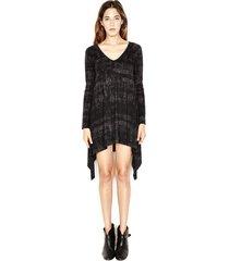 landon v-neck dress - m black pixel