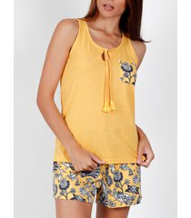 pyjama's / nachthemden admas pyjama shorts tank top garden sun yellow