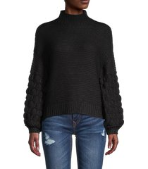 rd style women's high-neck textured sweater - black - size m