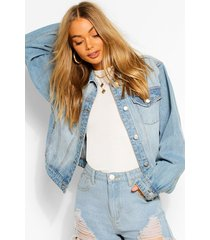 balloon sleeve boxy jean jacket, mid blue