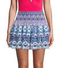 cairo print coverup skirt