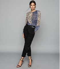 reiss selma - printed wrap front blouse in blue, womens, size 10