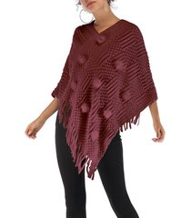 casual con scollo a v in pelliccia nappa irregolare maglia scialle mantello plus size maglione