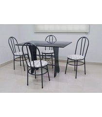conjunto cozinha verona 1,20 com granito c/4 cadeiras milla açomix