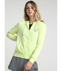 """blusão feminino em moletom felpado """"see you in paris"""" com capuz verde neon"""