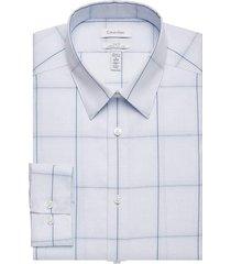 calvin klein men's infinite slim fit dress shirt blue windowpane - size: 18 32/33