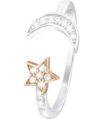 anello moon in argento 925 bicolore e zirconi per donna