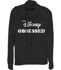 fifth sun juniors disney logo disney and chill fleece cowl neck sweatshirt