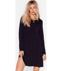 womens tier we come relaxed mini dress - black