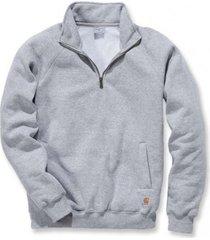carhartt trui men quarter-zip mock-neck sweatshirt heather grey-s