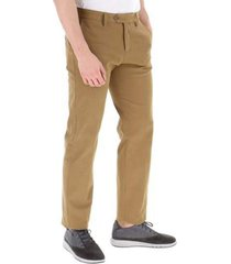 soft touch stretch winter chino trousers, slim fit with metal plate on the back pocket, front zip closure and three buttons, two of which are internal.