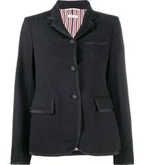 thom browne seersucker narrow shoulder jacket - black