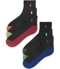 polo ralph lauren men's athletic celebrity quarter socks 6-pack