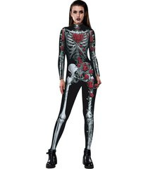 woman halloween sugar skull bodysuit day of the dead fancy costume cosplay