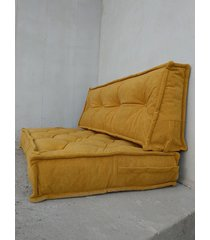 siedzisko materac francuski puf ottoman musztarda