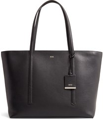 boss taylor leather shopper - black