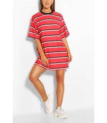 oversized gestreepte t-shirtjurk, rood