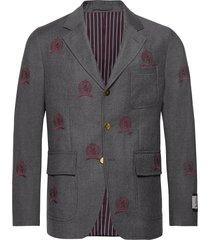 hcm suit sep blazer embroidery blazer colbert grijs hilfiger collection