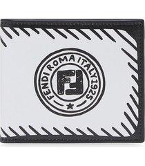 fendi x joshua vides flat printed wallet - white