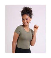 camiseta feminina básico manga curta decote redondo verde militar