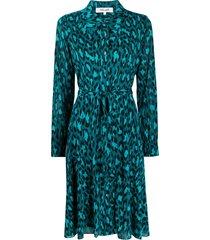 dvf diane von furstenberg animal-print shirt dress - blue