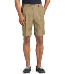 jos. a. bank men's traveler performance pleat front traditional fit comfort waist shorts clearance, british tan, 32 regular