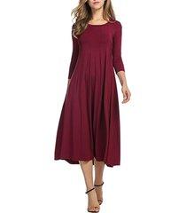 donna casual abito di stile semplice con collo tondo a maniche lunghe in colore a tinta unita
