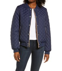 women's ugg reversible quilted & faux shearling bomber jacket, size x-small - blue