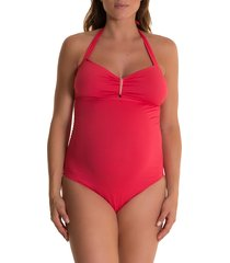 women's pez d'or solid one-piece maternity swimsuit, size small - coral