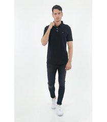 camiseta tipo polo de hombre, manga corta, 100% algodón, color negro