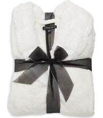 saks fifth avenue women's faux fur robe - silver grey - size m