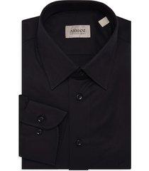 armani collezioni men's long-sleeve dress shirt - black - size 15.5 39