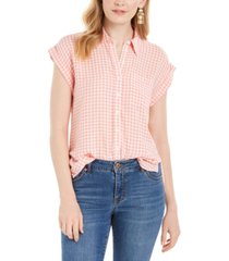 style & co gingham-print camp shirt, created for macy's