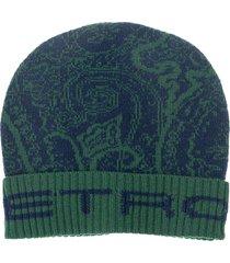 etro wool hat. logo. decorated