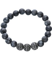 bracciale elastico con pietre grigie rotonde e acciaio per uomo