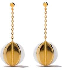 tasaki 18kt yellow gold wedge m/g tasaki freshwater pearl earrings