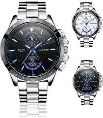 longbo top brand mens argento orologi cinturino in acciaio inossidabile di lusso luminoso orologio al quarzo impermeabile