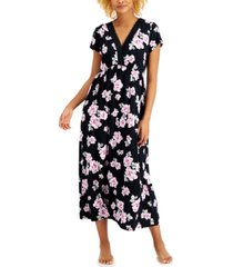charter club floral-print surplice long nightgown, created for macy's