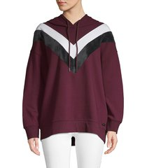 marc new york performance women's high-low boyfriend hoodie - burgundy - size s