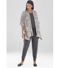 cashmere fleece leopard wrap robe, women's, size 1x/2x, n natori