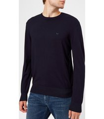 emporio armani men's basic crew neck sweater - navy - xl - blue