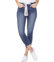 women's nydj alina high waist scarf tie stretch denim ankle skinny jeans, size 14 - blue
