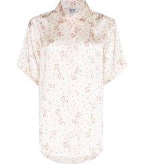frankies bikinis floral-print pajama shirt - pink