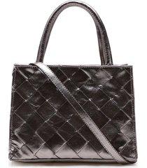 bolsa mini tote feminina corello tresse couro cristal corello tote bag prata velho