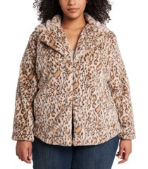 1.state trendy plus size printed faux-fur jacket